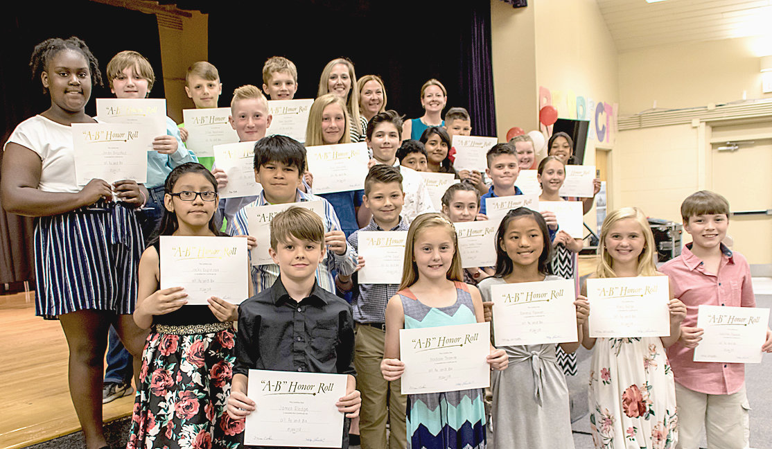 MORE THAN 20 fifth-graders at George R. Stuart Elementary were honored at the Fifth Grade Awards ceremony for being on the AB Honor Roll for the entirety of the 2018-19 school year.