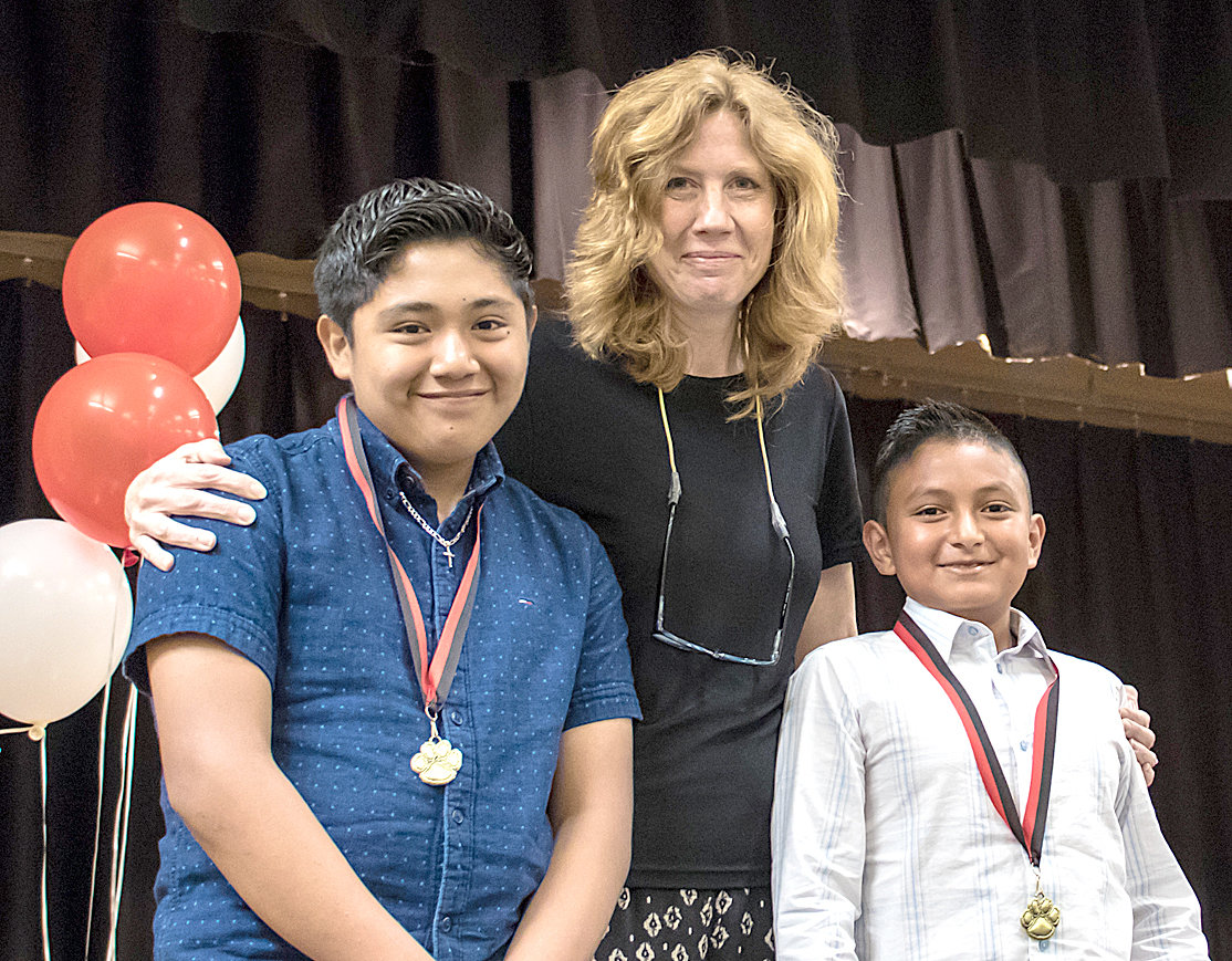 THE ELL AWARD for English language learners was presented to George R. Stuart Elementary fifth-graders Scottie Garcia and Geyron Escobar Lucas.