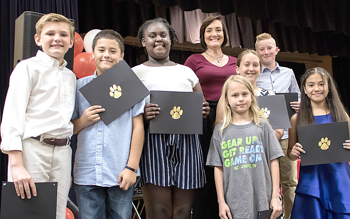 PERFECT ATTENDANCE awards were given to George R. Stuart Elementary fifth-graders Sawyer Boyd, Aiden Matos-Diaz, Jordin Bradford, Kieran Gibson, Sydney Schaefer, Ethan Guy and Ana Vargas Robledo. Assistant Principal Alicia Kahrs presented the awards.