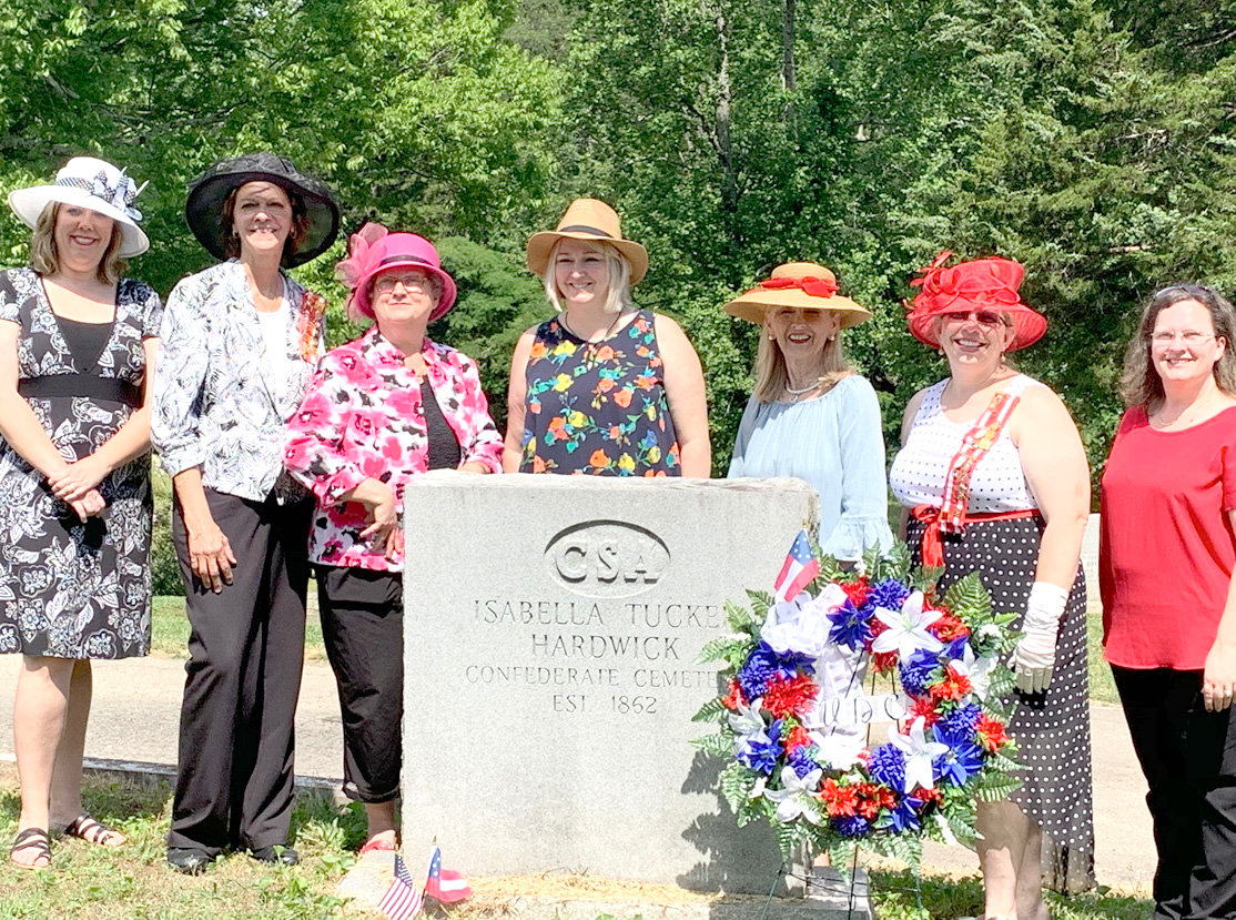 The United Daughters of the Confederacy, Jefferson Davis Chapter 900 held a Memorial Day Service at the Historic Fort Hill Cemetery on May 27. On hand for the presentation were Christy Peden, Linda Ballew, Anita Green, Katy Rose, LaMone Rose, Lisa Pritchett and MiniSu Williard.