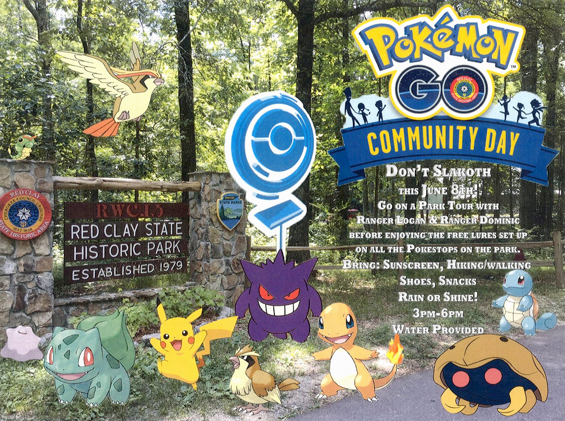 THE PROMOTIONAL image for Red Clay's Pokemon Go Community Day featured several fan favorites that could be caught along Red Clay's hiking trails and near its historical settlement.