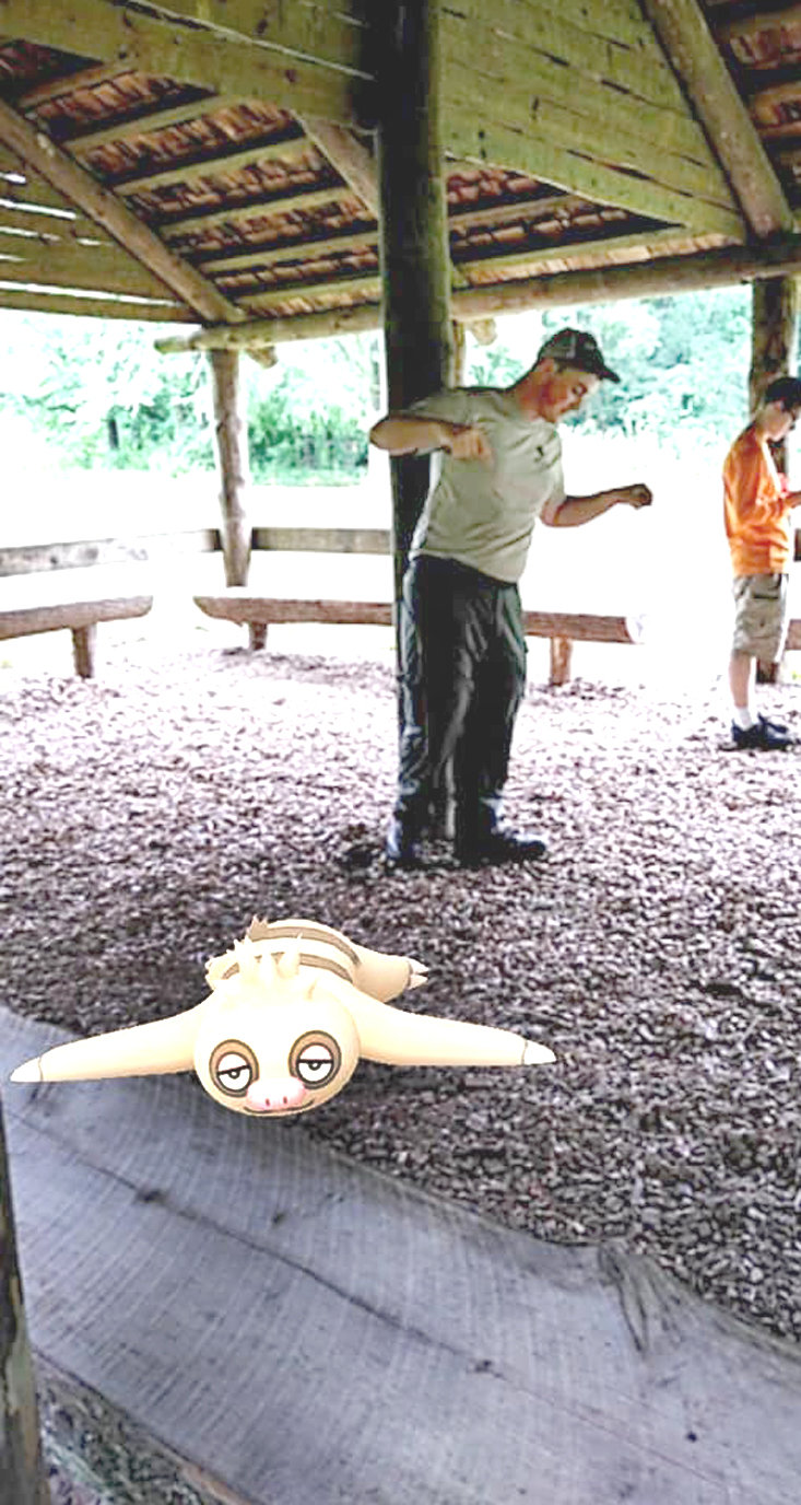 A CURIOUS SLAKOTH finds its way into the tour group led by seasonal interpretive ranger Dominic Austin at Red Clay State Historic Park.