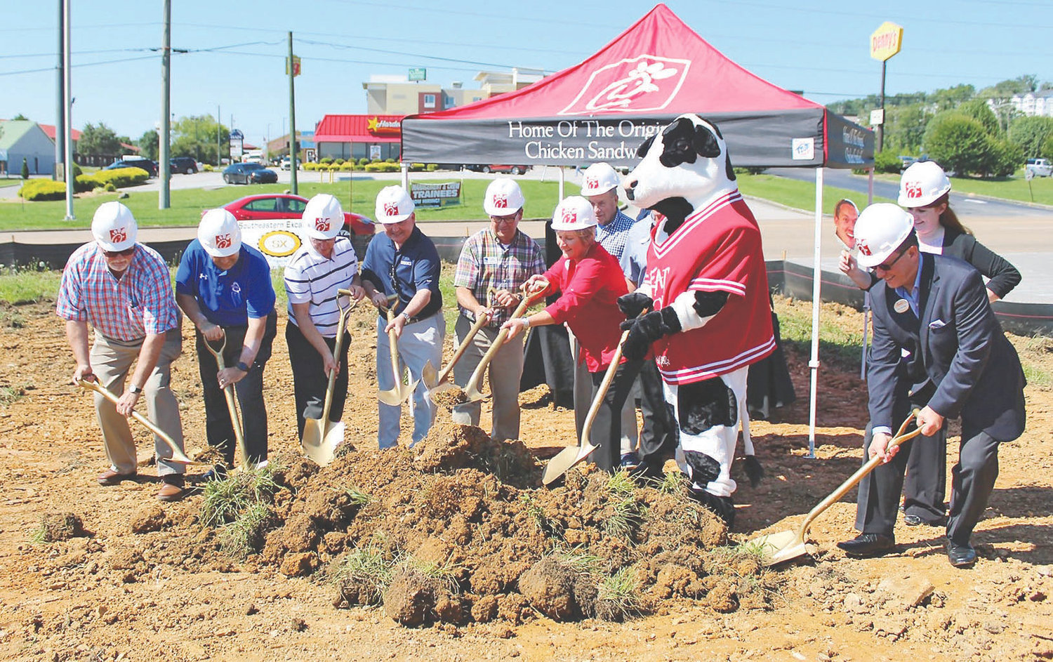 THE CLEVELAND/BRADLEY County Chamber held a groundbreaking ceremony recently for the new Chick-fil-A restaurant being constructed at 1000 Paul Huff Parkway, adjacent to the Target shopping center. This will be Chick-fil-A's second location in Cleveland, the other on Keith Street at Ocoee Crossing. W.H. Bass Inc. Inc. of Duluth, Ga.,will be the contractor for the $1.2 million construction project. It will be located between Wendy's and Burger King, and across Paul Huff Parkway from Hardee's and Denny's. The groundbreaking is indicative of continued construction activity in the Cleveland and Bradley County community.