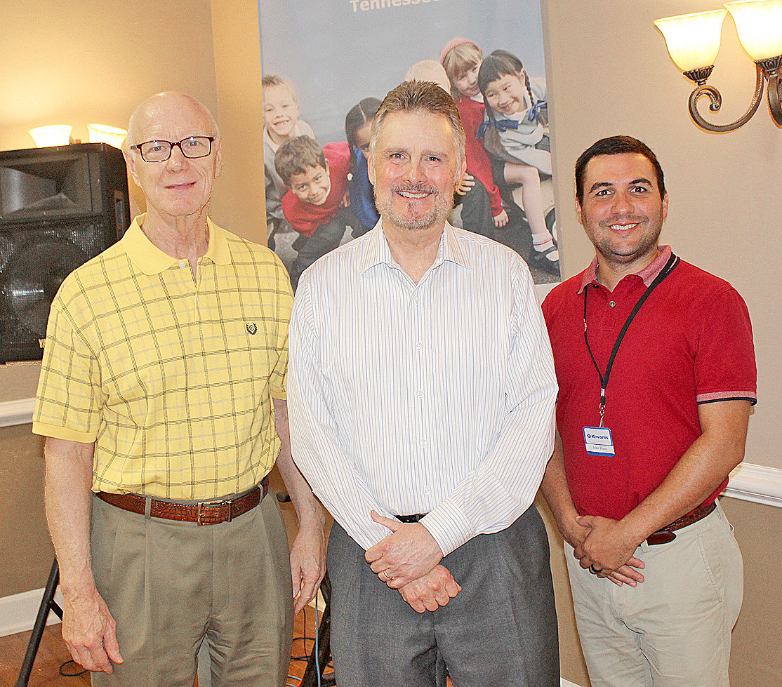 METEOROLOGIST Paul Barys, center, was the guest speaker at Thursday's Cleveland Kiwanis Club luncheon at the downtown Elks Lodge. With the longtime TV weatherman following the program were new Kiwanis President Jake Duos, right, and Kiwanis member Dr. Rodney Fitzgerald, left.