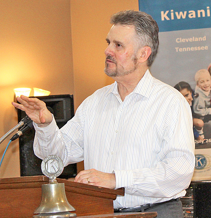 METEOROLOGIST Paul Barys, above, spoke to the Cleveland Kiwanis Club luncheon this week, discussing his 34 years as a Chattanooga television weatherman.