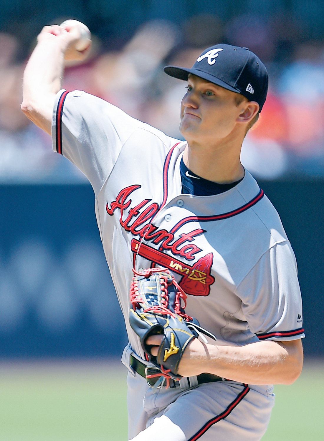 Atlanta Braves starting pitcher Mike Soroka delivers a pitch during the first inning of Sunday's game against the San Diego Padres in San Diego. He picked up his 10th win of the season as the Braves completed a sweep of the Padres.