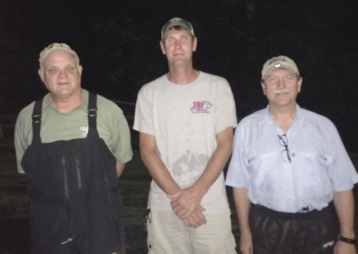 THE CLEVELAND BASSMASTERS held a night tournament recently. The winners were, from left, first place, Scott Jones; second place and big fish, Steve Higgins; and third place, Dewayne Lowe.