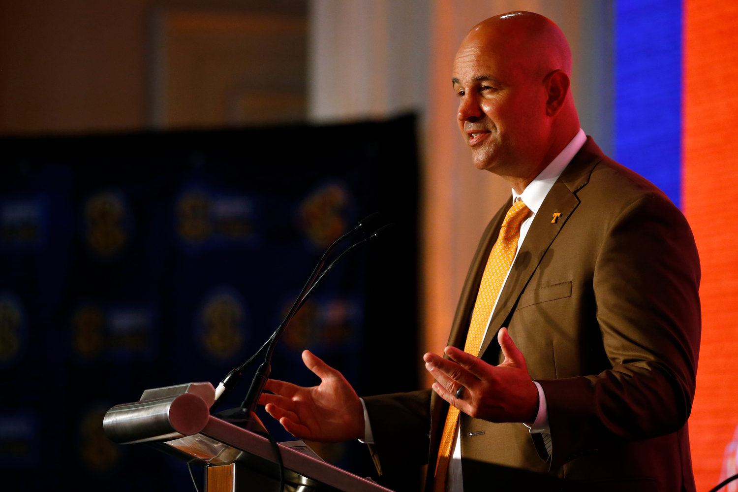 TENNESSEE HEAD COACH Jeremy Pruitt speaks during Southeastern Conference Media Days, Tuesday, in Hoover, Ala.