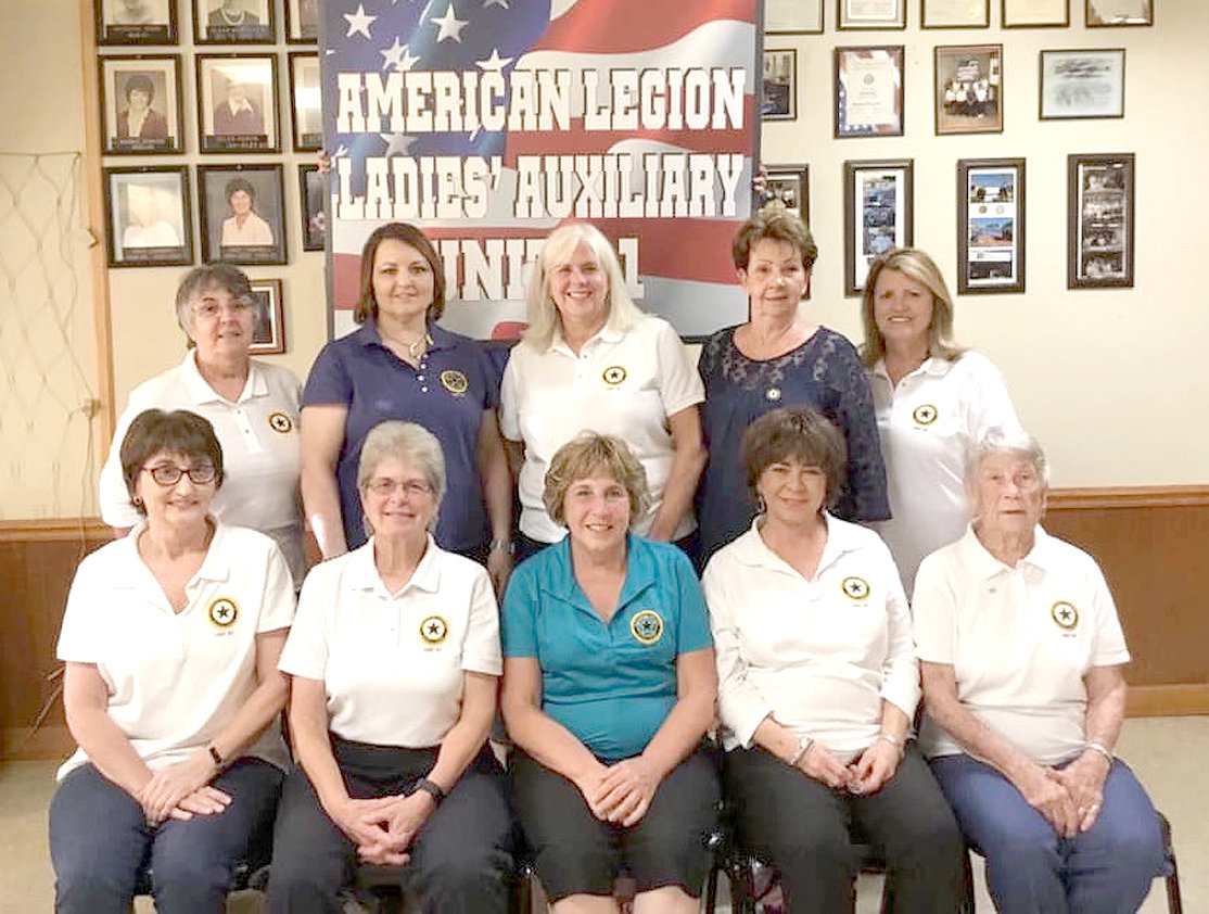 NEW 2019 OFFICERS for The American Legion Auxiliary, Unit 81, include front row from left, Vice President Tammy Hood, President Janet Allen, Historian Carol Osborne, Chaplin Beverly LeConte, and Sgt. at Arms Juanita Cooper. On the back row, from left, are Executive Board member Josie Rivers, Executive Board member Mary Nelle Thomason, Executive Board member Judy Davis, Secretary  Carol Smith, and Treasurer Janice Higgins.