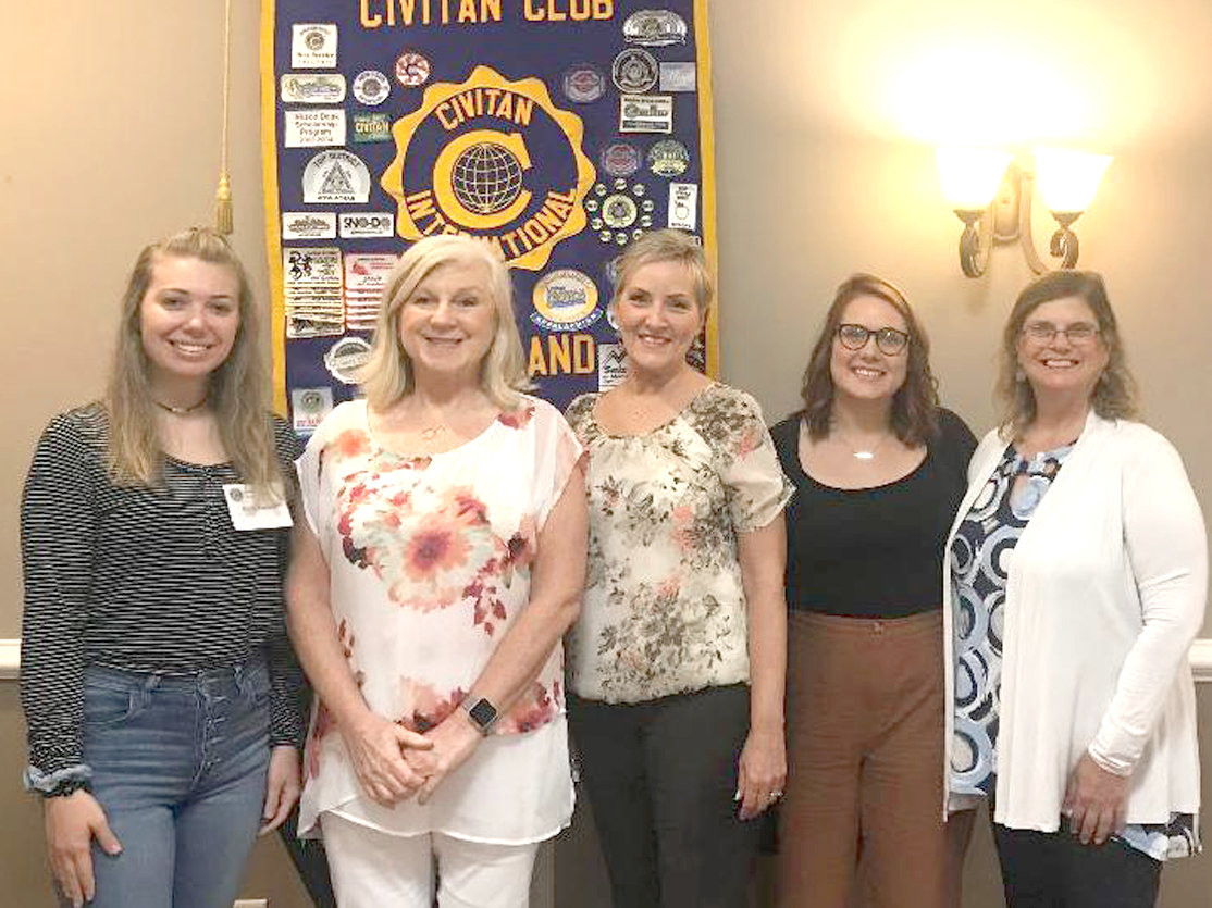 Amy French, senior manager of programs and education from the Mid South Chapter of the Alzheimer's Association spoke to the Cleveland Civitan Club about the many facets of dementia and ways to help individuals with Alzheimer's and their caretakers live a more meaningful life. From left are Emily Jackson, French, Lee Tate, Kelsey Hall and Catherine Rice.