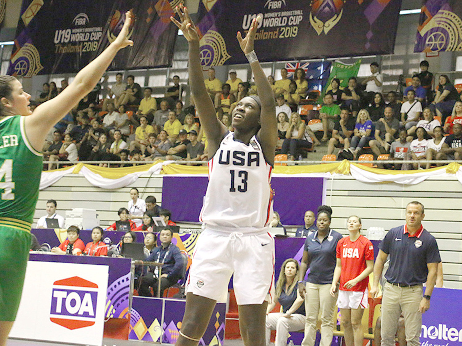 FORMER BRADLEY CENTRAL standout Rhyne Howard (13) fires up a shot during the opening round of the FIBA U19 World Cup in Bangkok. Thailand, Saturday morning. The University of Kentucky star scored 10 points in the USA's victory over Australia.