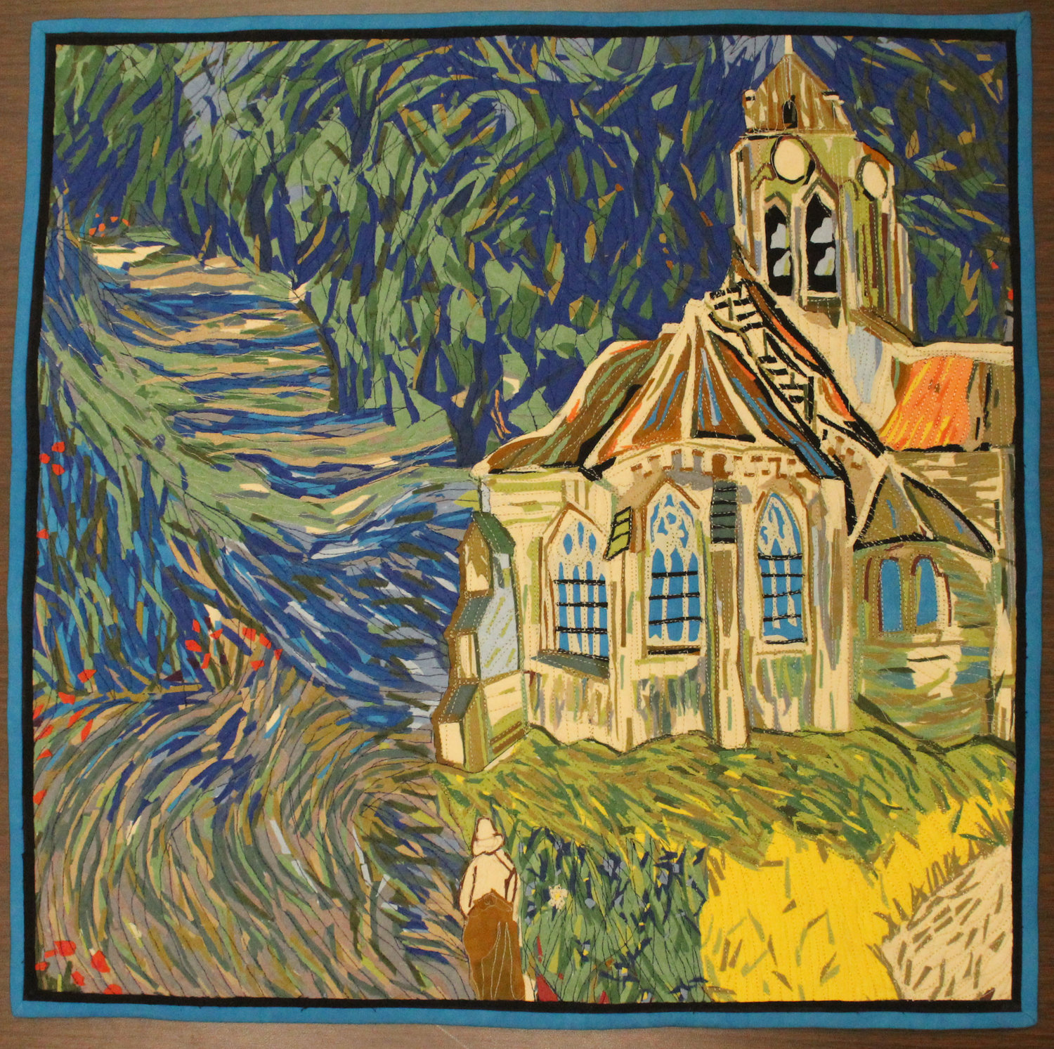 "SANDRA PRESLEY'S ""Van Gogh Piece"" is a square quilt made during a competition in which she could only use a certain set of provided fabrics. She explained that she combined several paintings by the famous artist to create this quilt."