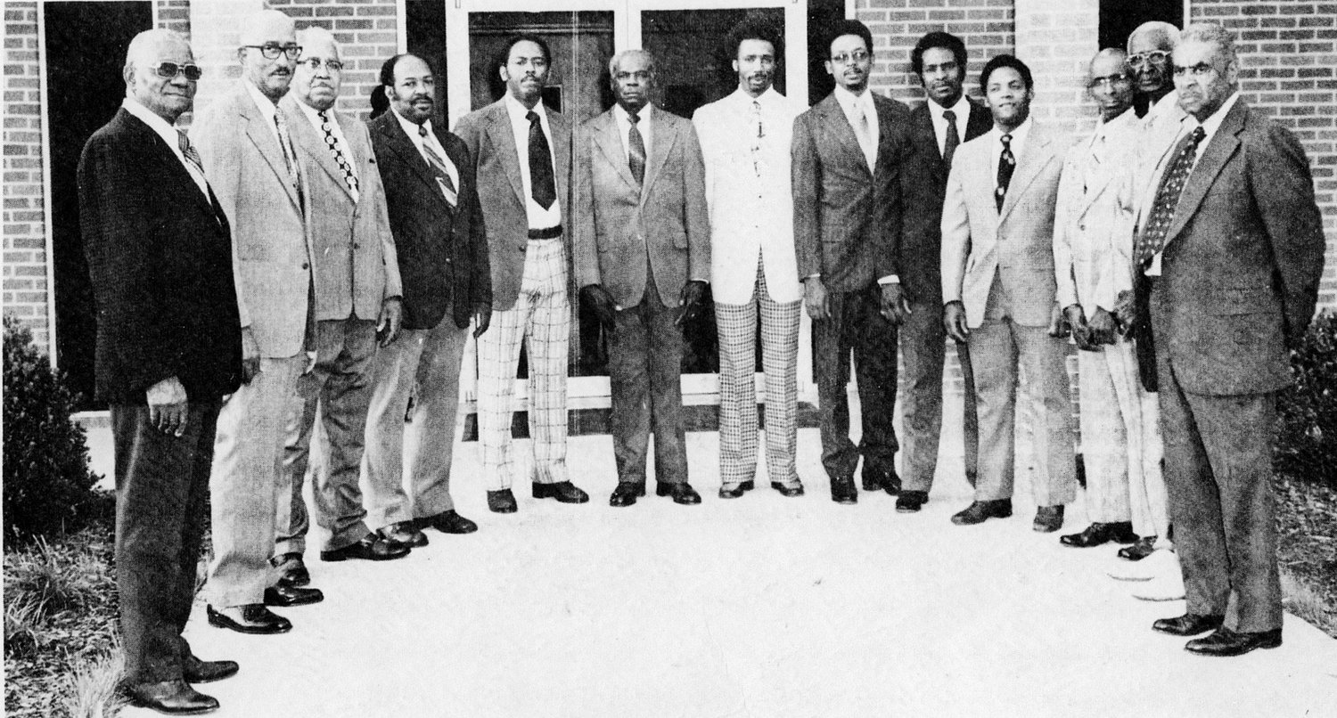 THE PHOTOGRAPH ABOVE of the deacons and trustees of South Cleveland's Pleasant Grove Missionary Baptist Church was taken in 1979 when the Rev. Edward Robinson was first called to minister to the church's congregation. The church leadership at that time included, from left, Willie Irving, Cyrus Mooney, Eli Westfield, Augustus Crawford, Harry Johnson, Jessie Hassler, Lomas Swafford, Alvin Phyllips, Avery Johnson, Andrew Johnson, Arthur Thompson, Melvin Kirkpatrick, and Roy Jarrett. Not pictured were John W. Keith, James Crawford, Oscar Johnson and Clifford Gaines. Only Harry Johnson, Avery Johnson, Andrew Johnson and Lomas Swafford are still alive.