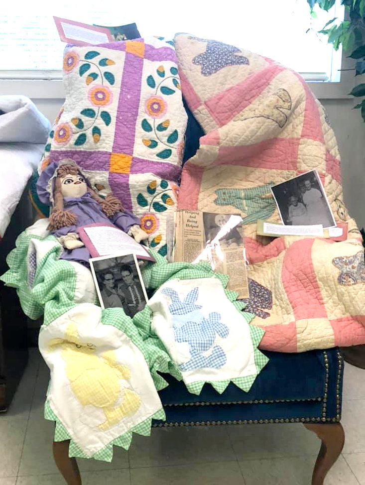 Handmade doll, Rose-vine  appliqué, and rabbit  appliqué quilts were on displayed at the recent Chestuee Chapter of DAR meeting.