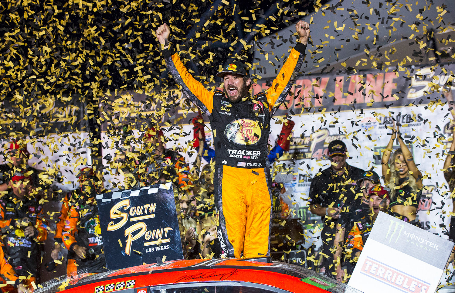 MARTIN TRUEX Jr. celebrates after winning a NASCAR Cup Series race at the Las Vegas Motor Speedway on Sunday.