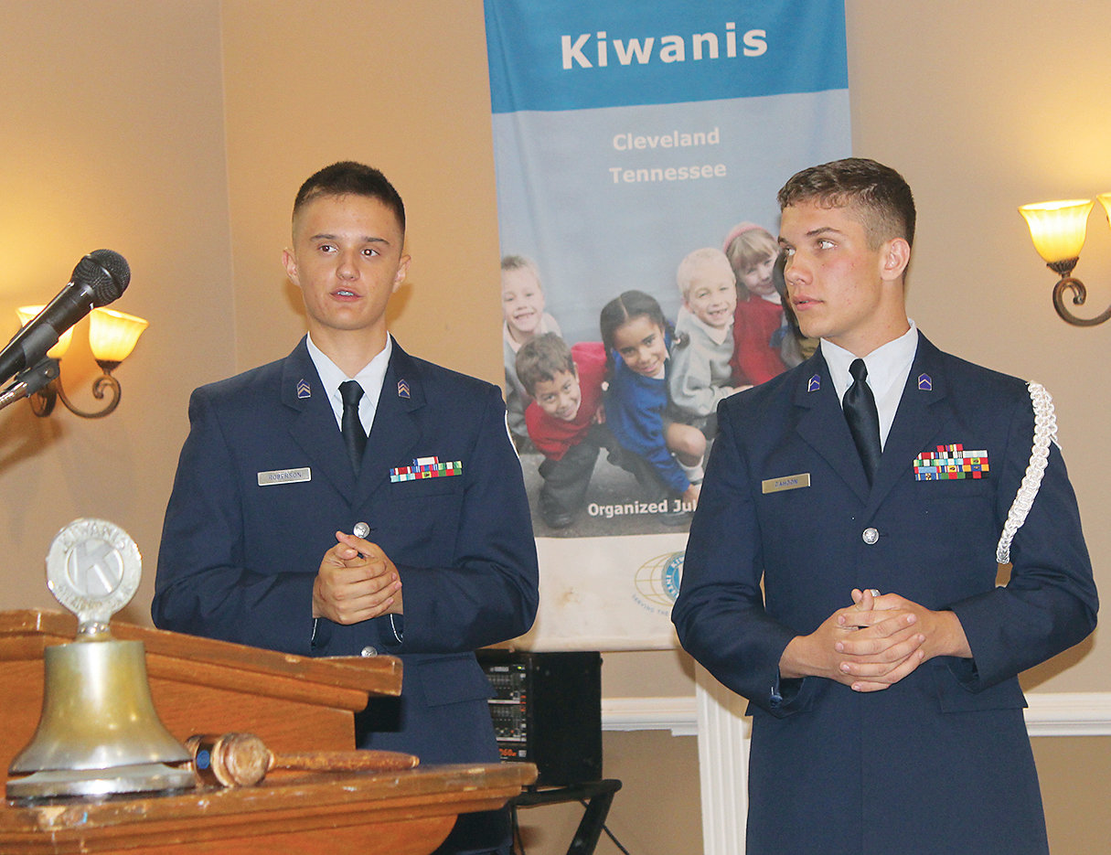 JUNIOR AIR FORCE ROTC Cadets Ben Roberson, left, and Hunter Cahoon, were guests of the Cleveland Kiwanis Club Thursday, along with ROTC Instructor Col. Gordon S. Campbell. The two cadets discussed leadership development, and community programs in which they are involved.
