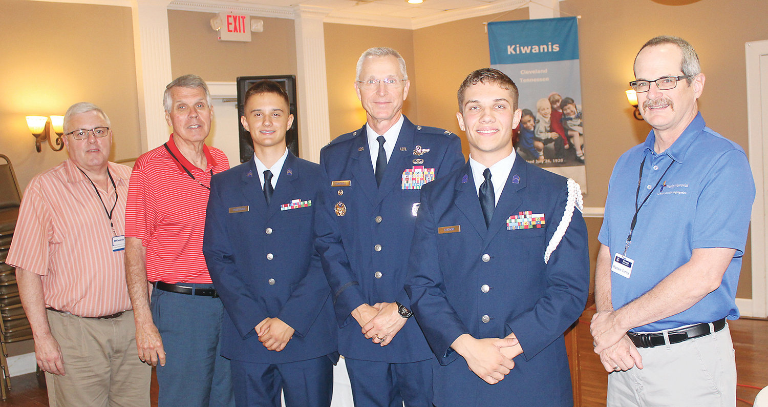 MEMERS OF THE CLEVELAND High School Junior Air Force ROTC Program were guests of the Cleveland Kiwanis Club this week. Talking after the program were, from left, Co-Program Chairmen Renny Whittenbarger and Charlie Cogdill, ROTC Cadet Ben Roberson, ROTC Aerospace Instructor Col. Gordon Campbell, ROTC Cadet Hunter Cahoon, and Cleveland Kiwanis Club President Ramon Torres.