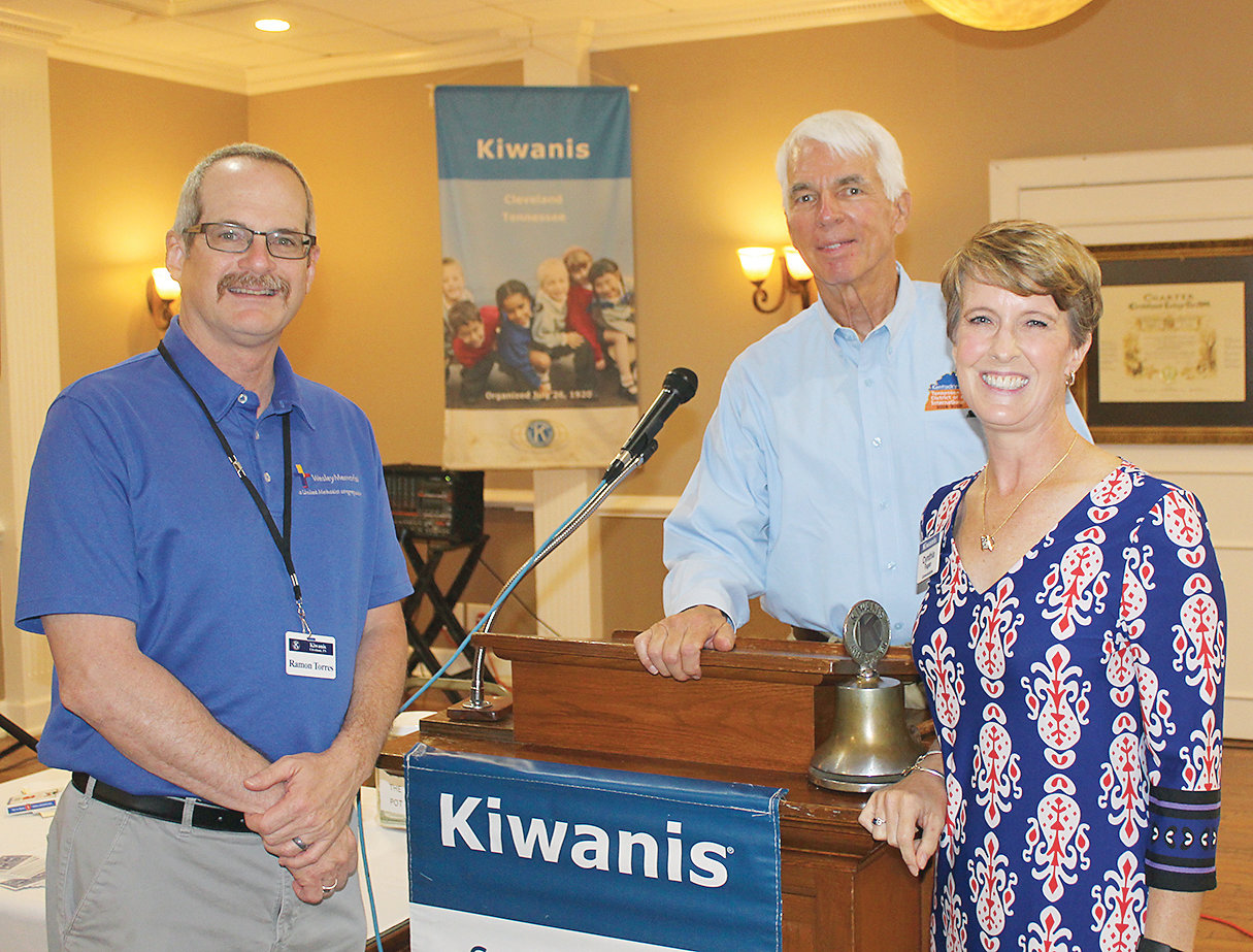 CLEVELAND KIWANIS Club President Ramon Torres, left, welcomed Outgoing Kiwanis Lt. Gov. Tom Carter, along with new Lt. Gov. Cynthia Fagen, to Thursday's weekly luncheon at the Elks Lodge.