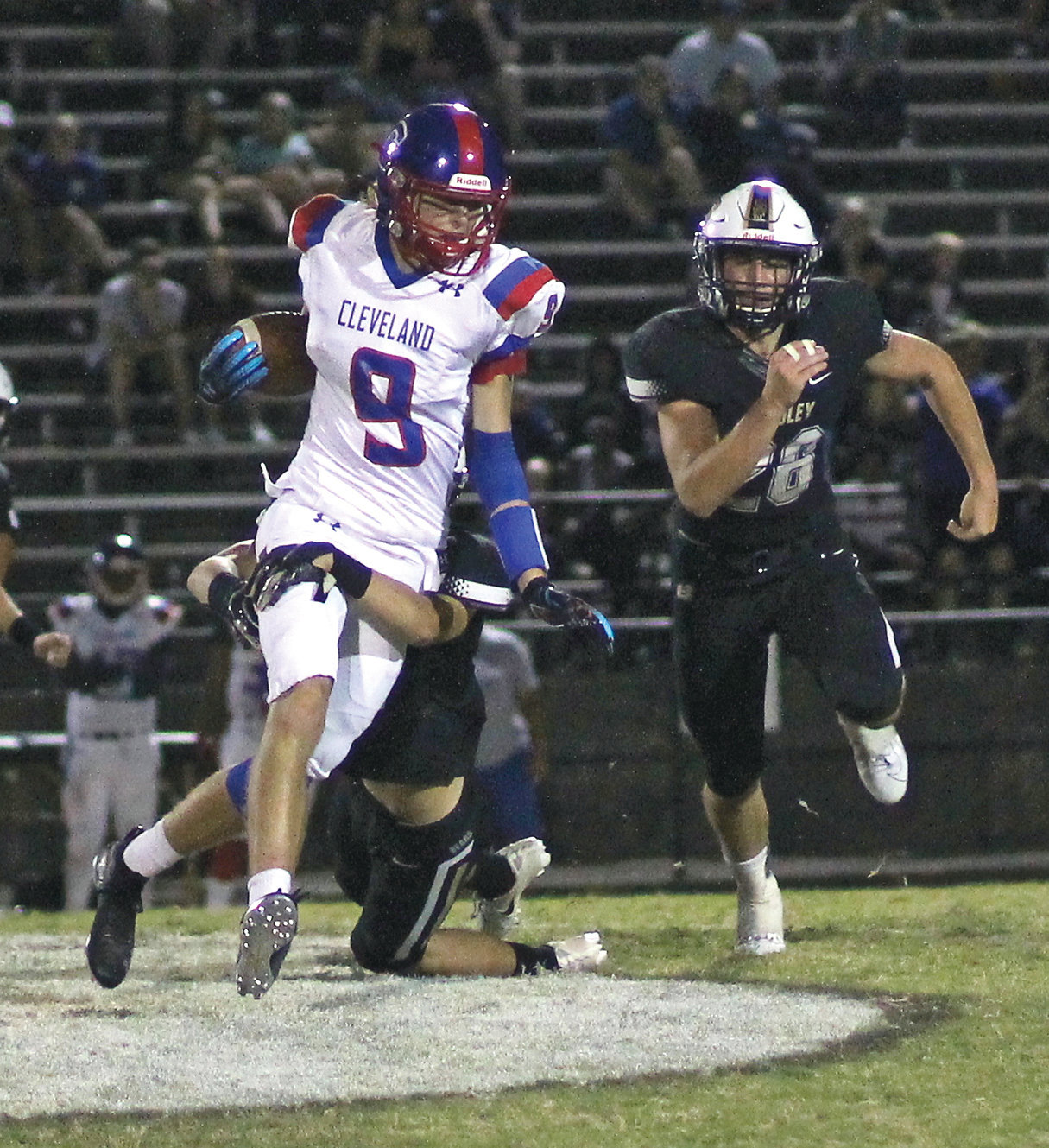 CLEVELAND'S Kley McGowan runs after a catch against Bradley Central. The Blue Raiders  travel to Shelbyville for the second of three straight road trips, Friday.