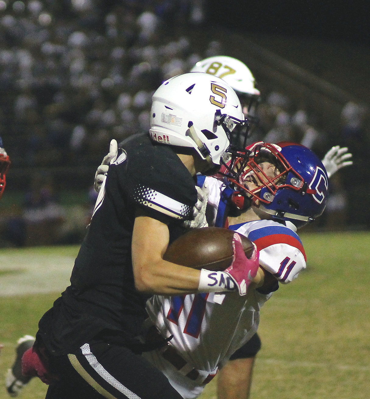 BRADLEY CENTRAL junior Kanon Hall (5) and his fellow fourth-ranked Bears will go face-to-face with No. 2 and unbeaten Maryville in a key Region 2-6A battle Friday, in Blount County.