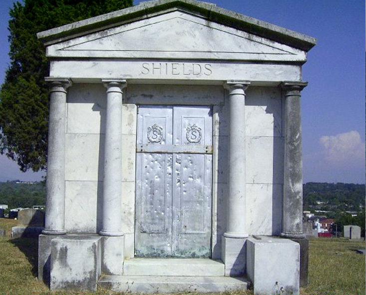 THE TOMB of Flora Shields, where the legend of Tall Betsy originated, at Fort Hill Cemetery. The life, and history, of Flora Shields is coming into discussion based on a theory that she could have served as the inspiration behind the legend of Tall Betsy, the goblin whose story serves as Cleveland's official spook. It is a legend that surfaces every Halloween in Cleveland.