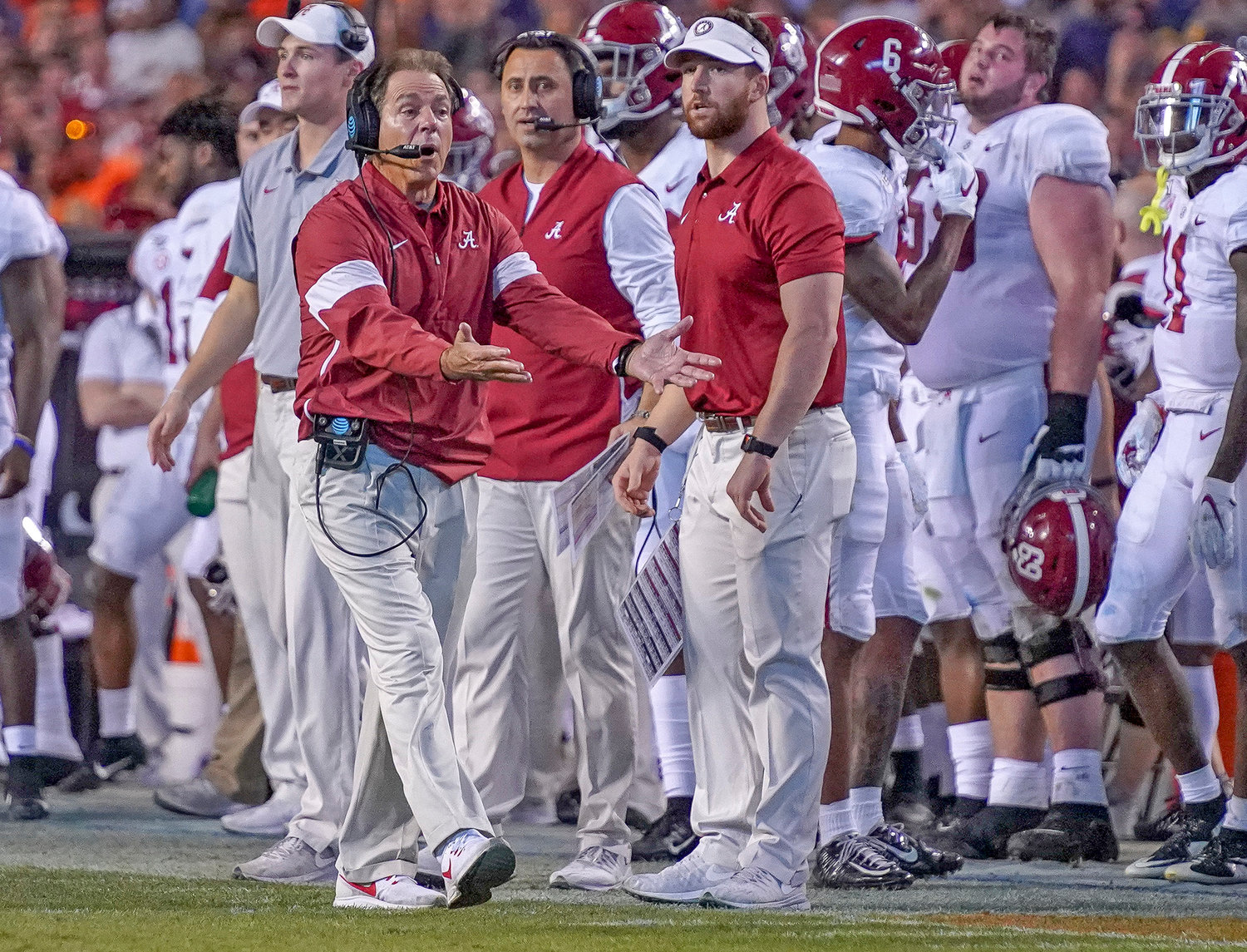 Alabama head coach Nick Saban disagrees with a call in the second half of Saturday's Iron Bowl in Auburn, Ala. The host Tigers upset the Tide, knocking them out of the AP Top 5 for the first time in 68 polls.