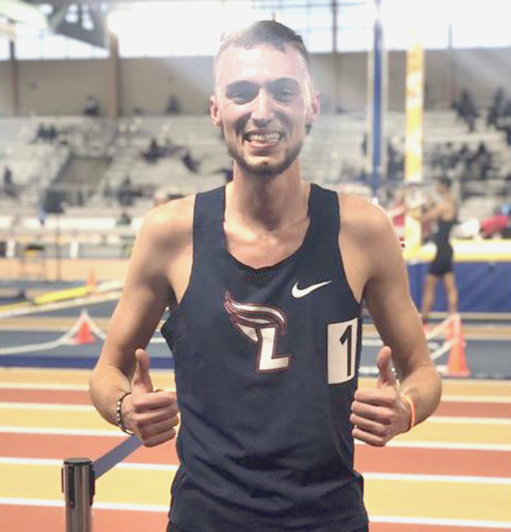 LEE FLAMES' Christian Noble set a new meet record at the BCS Indoor Icebreaker with a time of 8:10.21 in the 3,000-meter run Friday, in Birmingham, Ala.