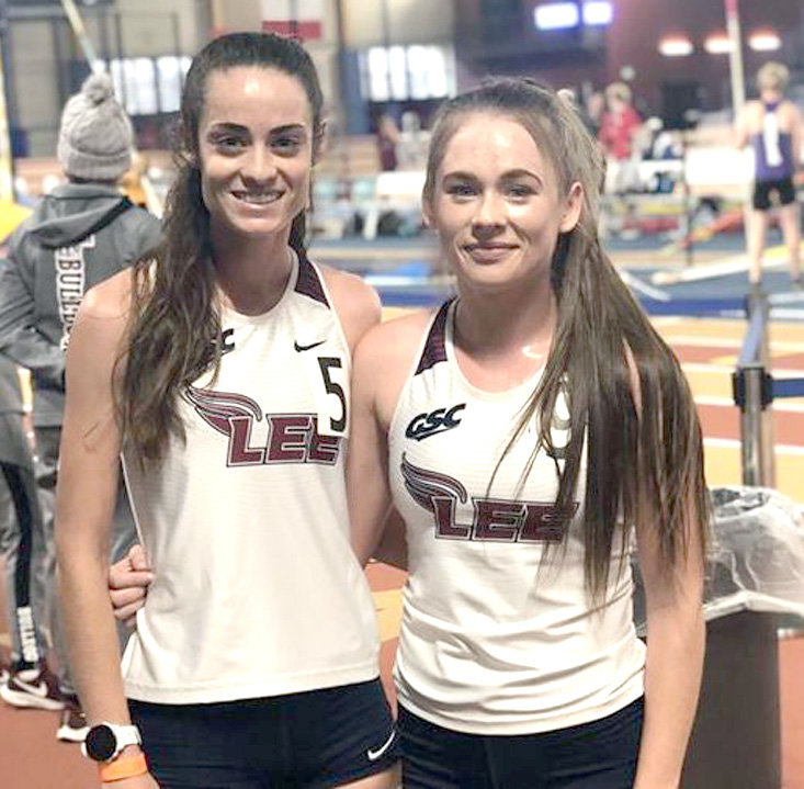 LADY FLAME Charlee Boxall, left, set a new Lee University record of 10:02.36 in the 3,000- meter run. Toni Moore finished second with a time of 10:21.54 at the BCS Indoor Icebreaker Friday, in Birmingham, Ala.