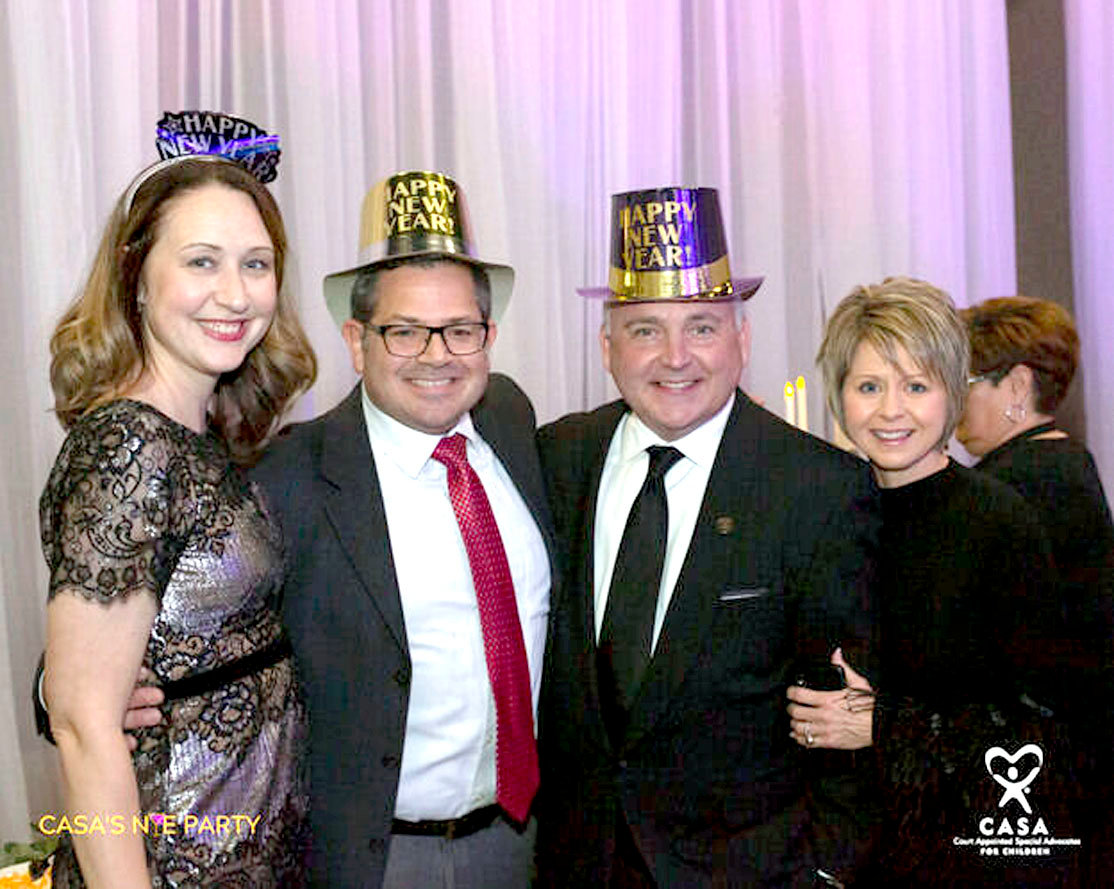Heather Carlson, Matt Carlson (board chair 2019), Cleveland Mayor Kevin Brooks and Kim Brooks were among the attendees at the CASA NYE Party Dec. 31.