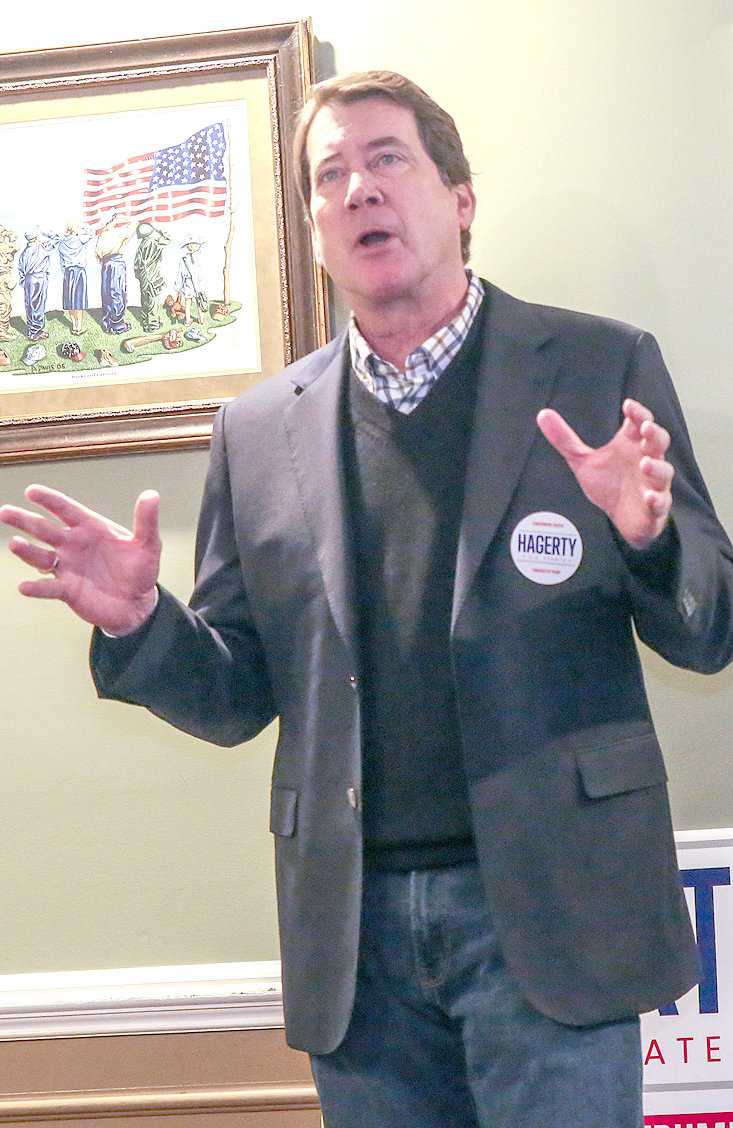"BILL HAGERTY, who is running for the U.S. Senate, stopped in Cleveland Thursday to meet with local Republican supporters at Old Fort Restaurant. Hagerty, who is a former U.S. Ambassador to Japan, said he will stand with President Donald Trump against the ""radical movement for socialism"" in Washington."