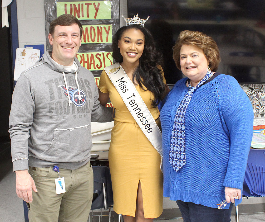 THREE EDUCATORS chatting at Cleveland Middle School's Mentees Program Friday morning included Cleveland Director of Schools Dr. Russell Dyer, left, Miss Tennessee Brianna Mason, and Cleveland Middle School Principal Leneda Laing. Mason is a first-grade teacher in the Ravenwood School System.