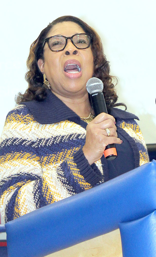 CLEVELAND EDUCATOR Dr. Barbara Ector provided a welcome, and a brief history of Dr. Martin Luther King Jr., at the start of Saturday morning's MLK Breakfast in the Cleveland High School cafeteria.
