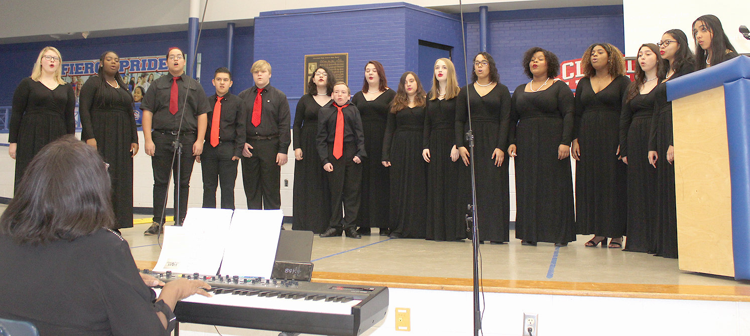 CLEVELAND HIGH SCHOOL'S Ebony and Ivory Choir, under the direction of instructor Rhonda Ferguson, provided musical entertainment at Saturday morning's MLK Celebratory Breakfast in the high school cafeteria. This was one of a series of community programs scheduled during MLK Week.