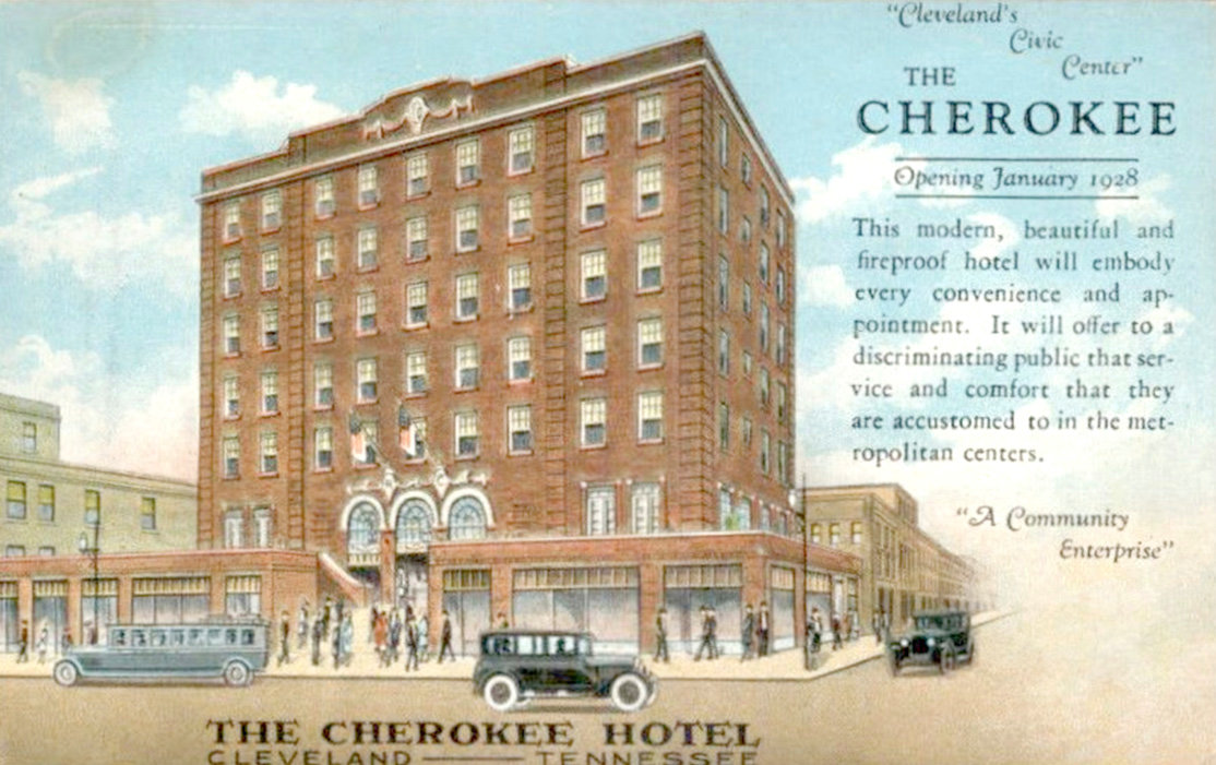 AN ADVERTISEMENT for the future opening of downtown Cleveland's Cherokee Hotel notes the hotel will open in 1928. The grand opening was on March 28, 1929.