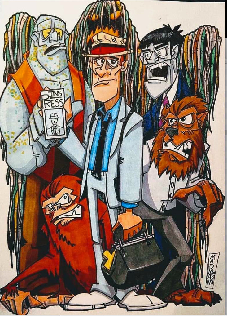 """KOLCHAK THE NIGHT STALKER"" by Chris ""Madman"" Goins was among the early submissions for the Comic Book/Pop Culture Art Show."