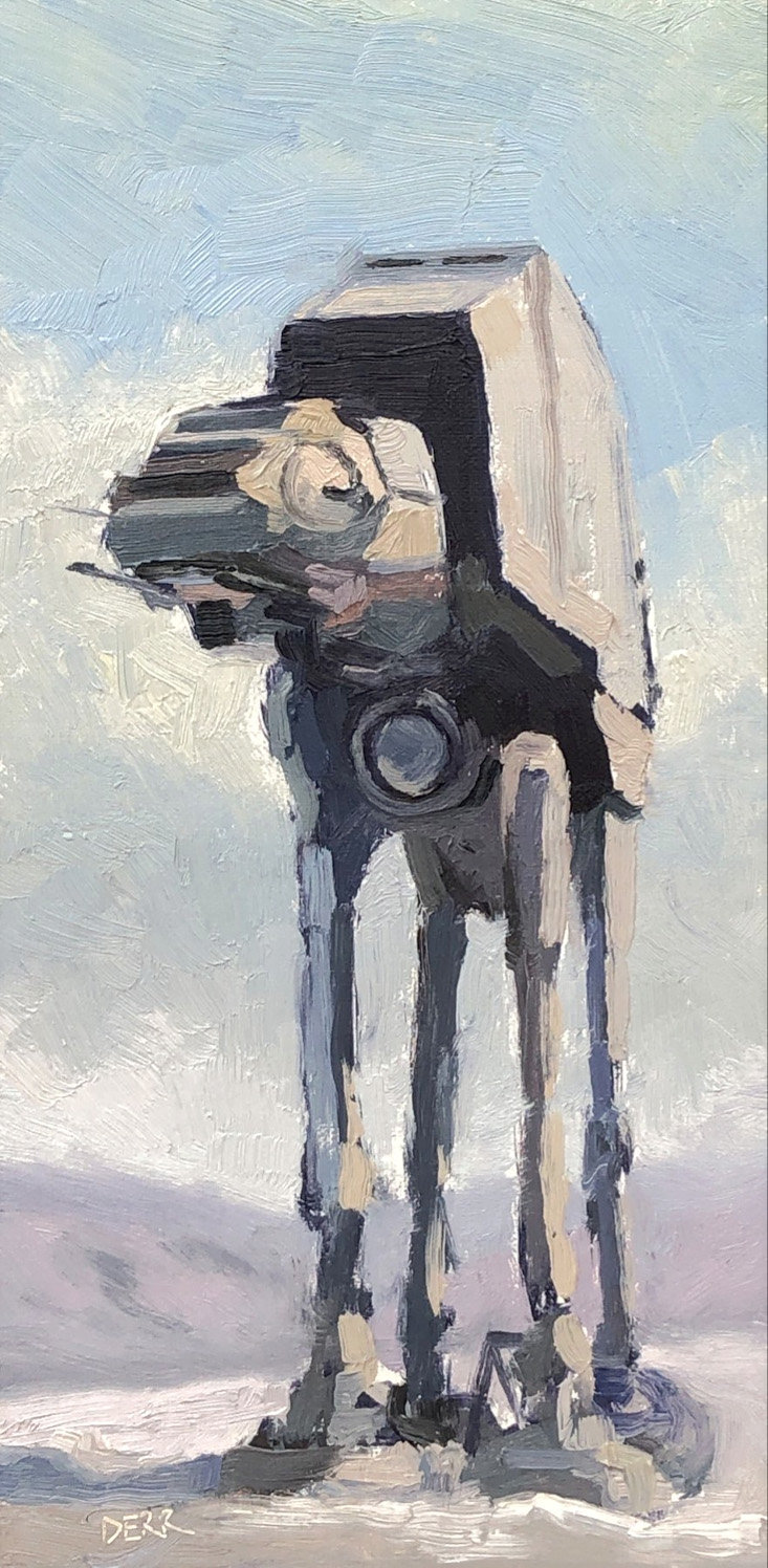 """FEAR MACHINE,"" an oil painting on linen panel by Todd Derr Fine Art, uses the plein-air painting style to depict an AT-AT vehicle from ""Star Wars."""