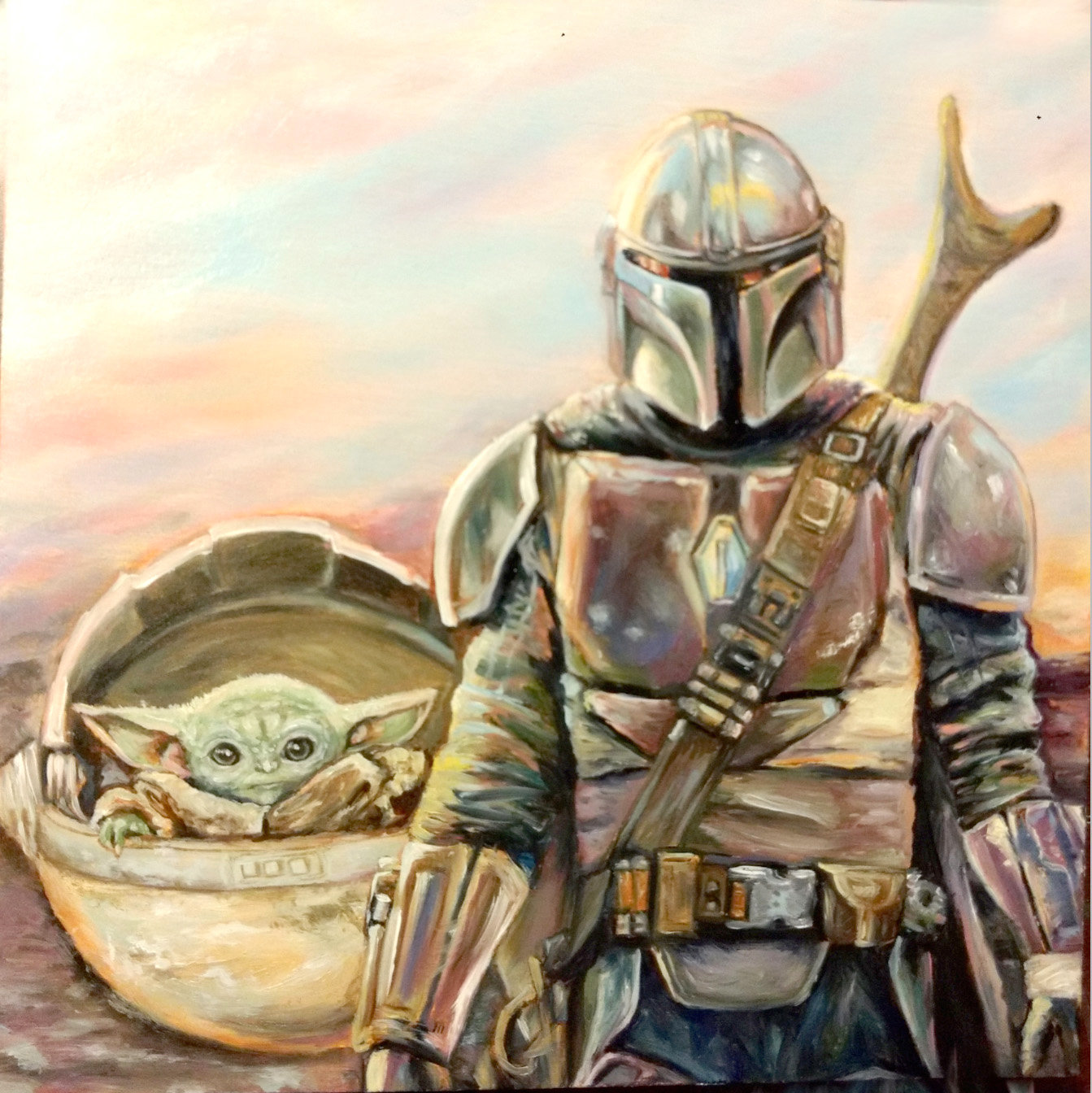 """A NEW DAY,"" oil painting on wood panel by M.B. Hetzel, shows a scene from ""The Mandalorian"" will be shown at the Comic Book/Pop Culture Art Show."