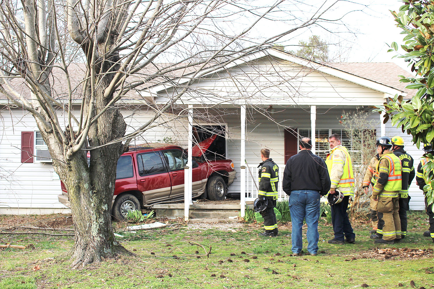 "AN SUV crashed into the front door of a house off Waterlevel Highway after it left the roadway at about 5 p.m. Wednesday. Tennessee Highway Patrol Lt. John Harmon told the Cleveland Daily Banner on Thursday that preliminary information had determined the driver, Michael D. Shenbager, 22, had lost control of his vehicle for an ""unknown reason."" Harmon said no charges are expected at this time."