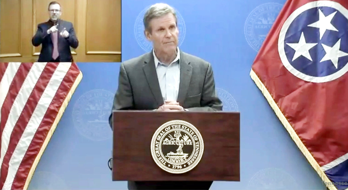 "TENNESSEE Gov. Bill Lee announces new ""Safer at Home"" guidelines established via executive order during a press conference held Monday in Nashville."