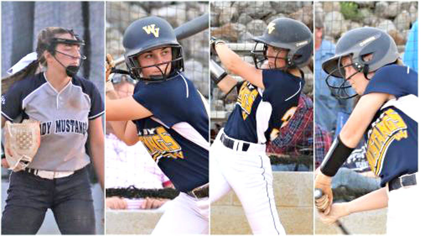 WALKER VALLEY seniors, from left, Natalie Pruitt, Katelyn Howell, Carissa Frost and Laney Harris had their final high school seasons cut short, but are all moving on to the collegiate ranks to continue their softball careers.