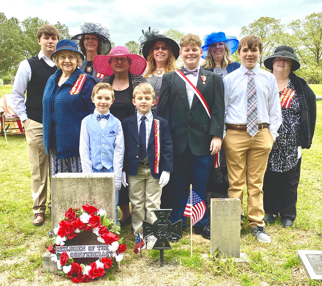ATTENDING THE grave-marker ceremony for David Martin Peden were members of the Peden and Little family.