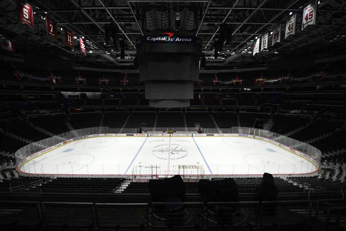 CAPITAL ONE ARENA, home of the Washington Capitals sits empty during the NHL shutdown. Get used to the concept of pods and pucks if the NHL is going to have any chance of completing its season, with the most likely scenarios calling for games in empty, air-conditioned arenas during the dog days of summer.