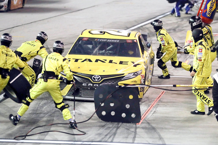 ERIK JONES (20) makes a pit stop during the NASCAR race Wednesday, in Darlington, S.C.