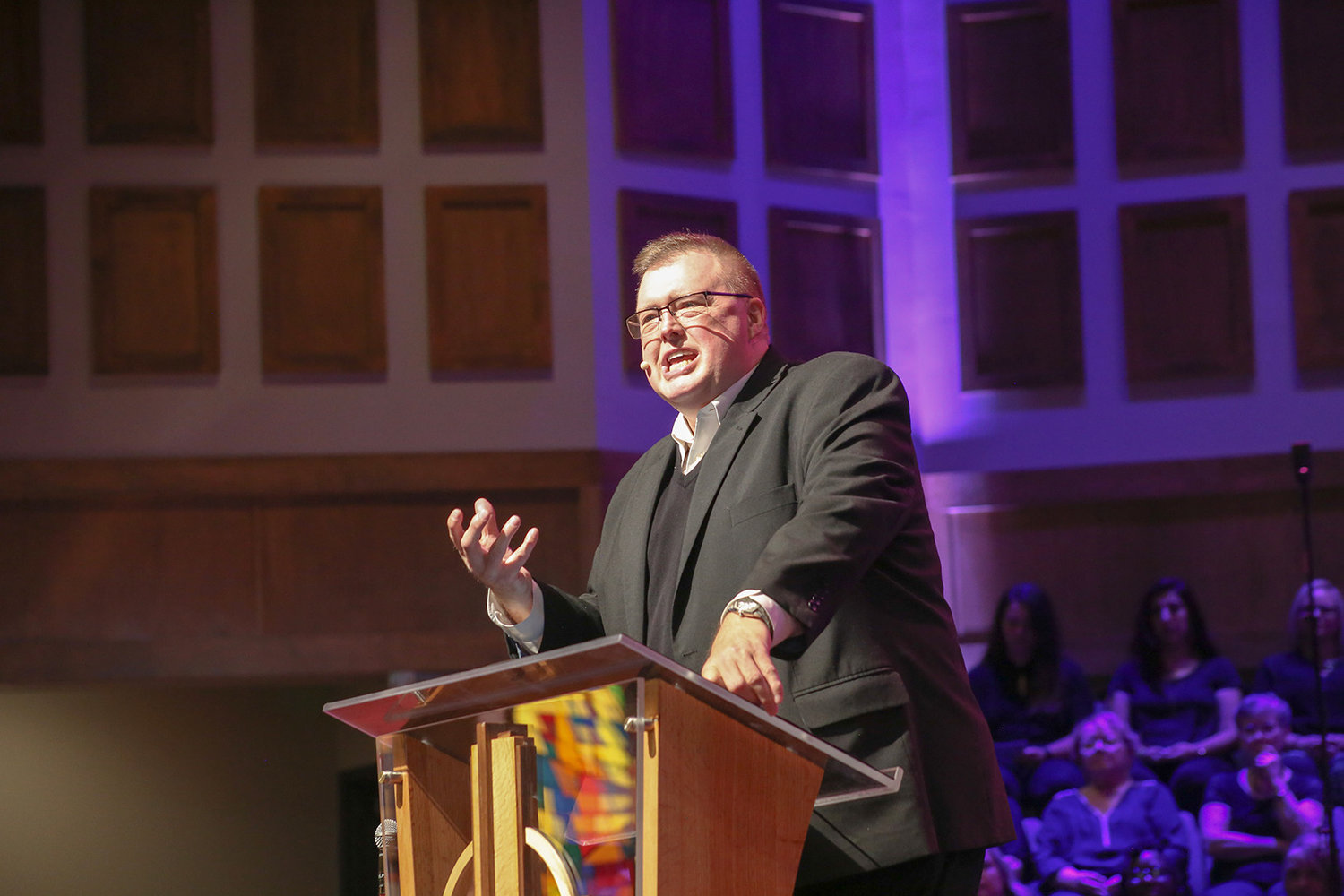 WESTMORE CHURCH OF GOD Lead Pastor Kelvin Page speaks to the congregation during the recent dedication service of the church's new sanctuary.