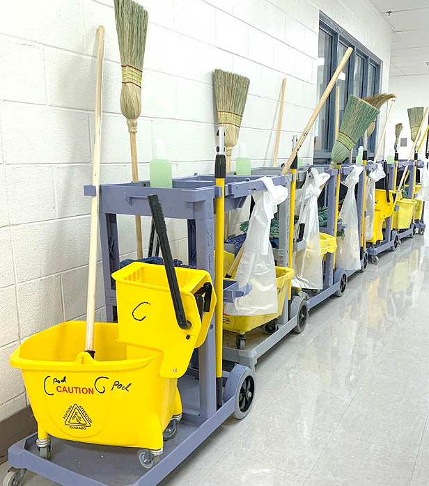 A PHOTO provided by the Bradley County Sheriff's Office shows several cleaning carts used to disinfect the Bradley County Jail, where 33 inmates have tested positive for COVID-19. All are asymptomatic as of Monday.