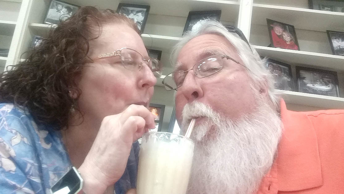 SHARING A MALTED with Robin (Hall) Rock at Walker's Drug Store in Mayberry (Mt. Airy, N.C.) during one of our dates this spring. Ice cream, Andy Griffith and a beautiful lady made for a perfect day for Banner assistant sports editor Joe Cannon.