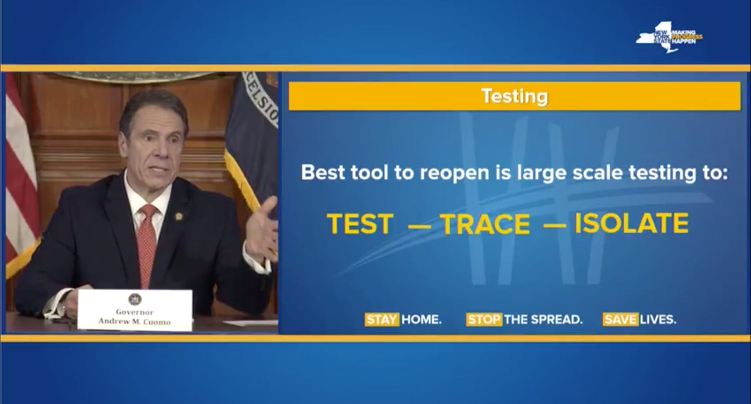 New York's governor repeated federal assistance is critical to get testing done and reopen states.