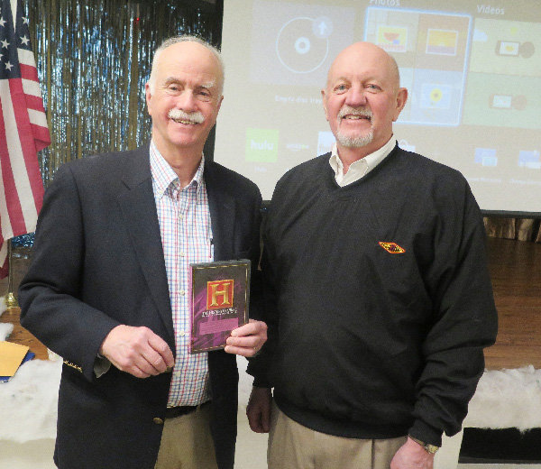 David Miller, at left, who spoke on the History of the New York State Prison System at the January program of the Town of Lloyd Historical Preservation Society.  On his left is John Wadlin, an active member of the Society, who was one of many audience members to speak with Miller after the program.