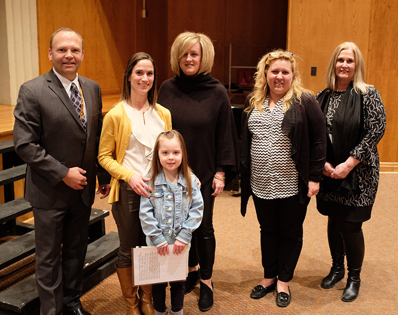 Lilah Valentine was named the Marlboro Elementary School Student of the Month for February. L-R Supt. Michael Brooks, teacher Jennifer Randacciu, Valentine, board member Susan Horton, Asst. Principal Dara Kaplan and Principal Patricia Walsh.