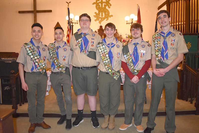 Congratulations!  Eagle Scout Court of Honor:  (L-R)  Julian  Aviles; Steven Aviles; Mason Weed: Lucca Dobson; Jason Lake; Thomas Grismer.